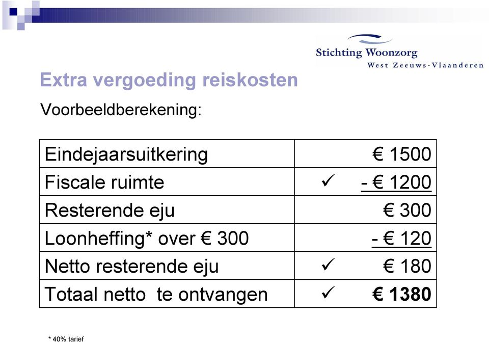 Loonheffing* over 300 Netto resterende eju Totaal