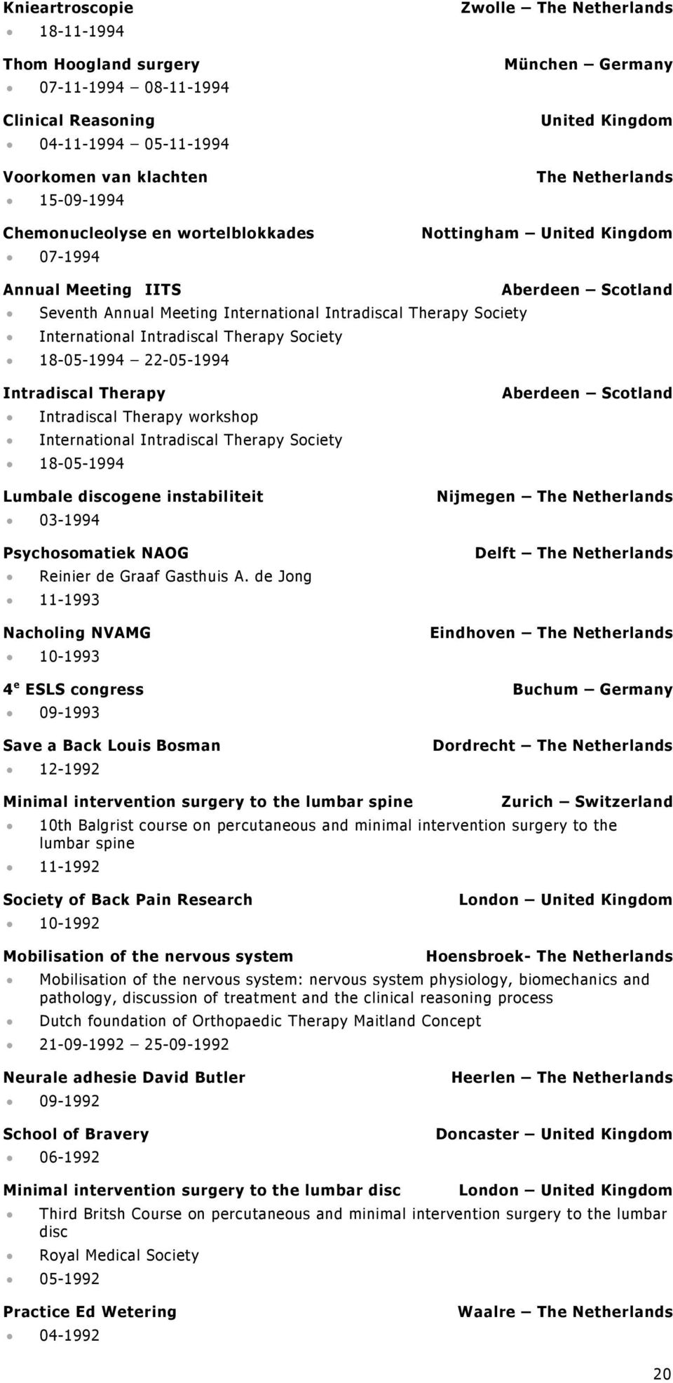 International Intradiscal Therapy Society 18-05-1994 22-05-1994 Intradiscal Therapy Intradiscal Therapy workshop International Intradiscal Therapy Society 18-05-1994 Lumbale discogene instabiliteit