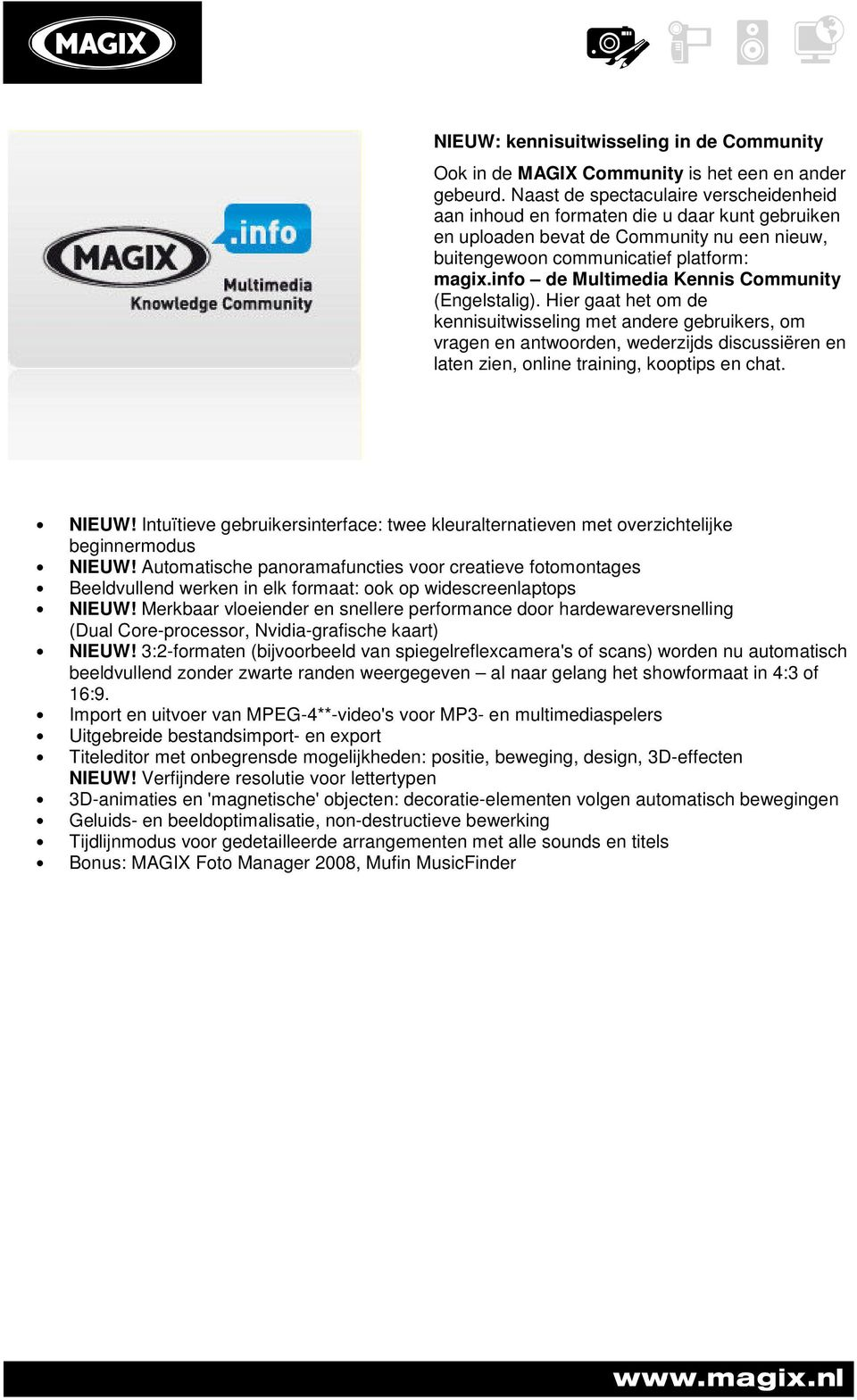 info de Multimedia Kennis Community (Engelstalig).