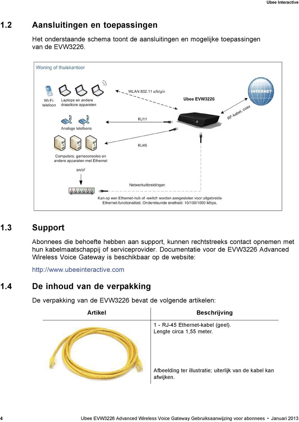 Documentatie voor de EVW3226 Advanced Wireless Voice Gateway is beschikbaar op de website: http://www.ubeeinteractive.com 1.
