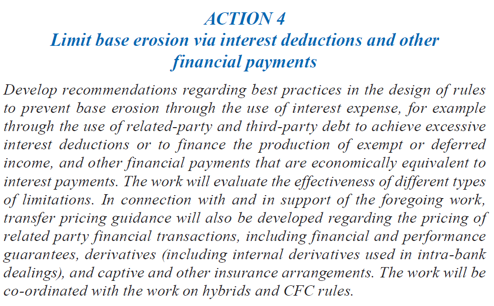 OECD BEPS anti-abuse provisions OECD BEPS action plan Point 4 Timing Limit base erosion through interest deductions and other financial payments