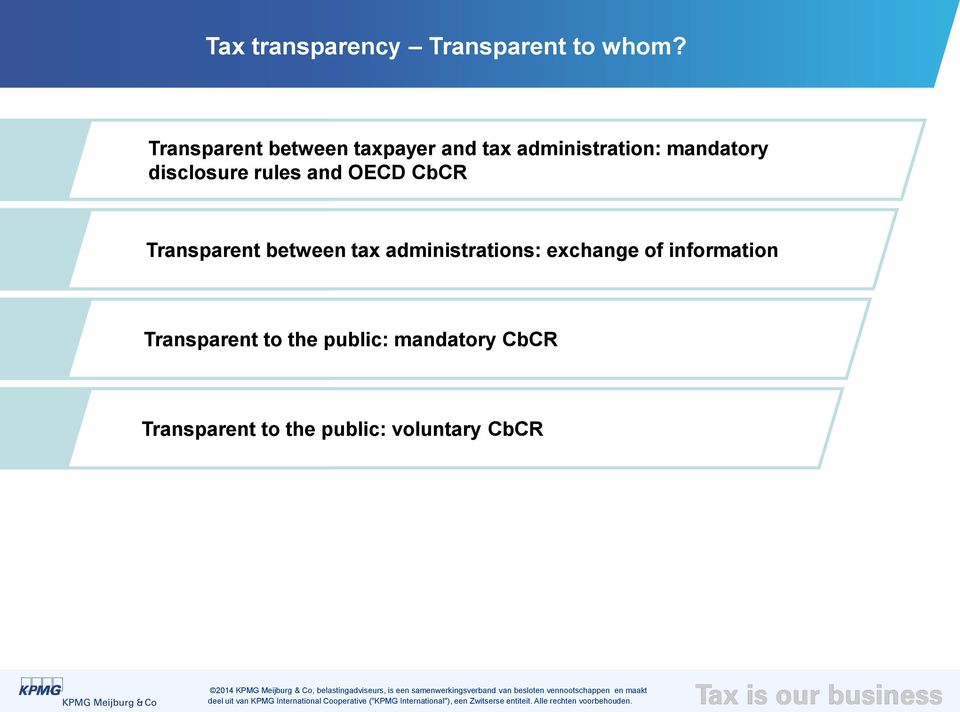 disclosure rules and OECD CbCR Transparent between tax