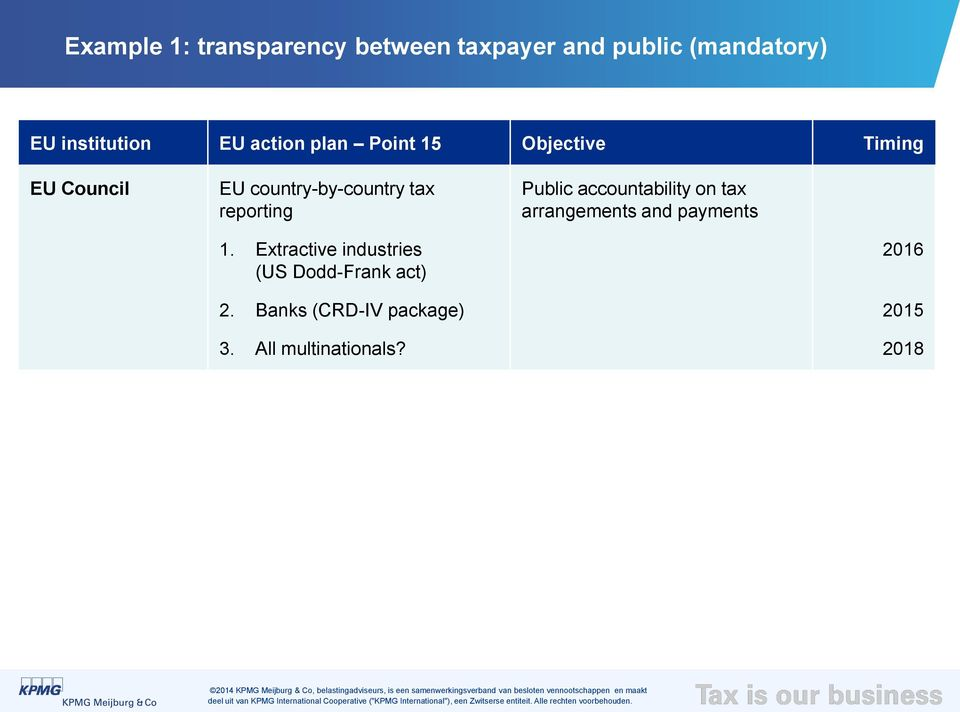 reporting Public accountability on tax arrangements and payments 1.