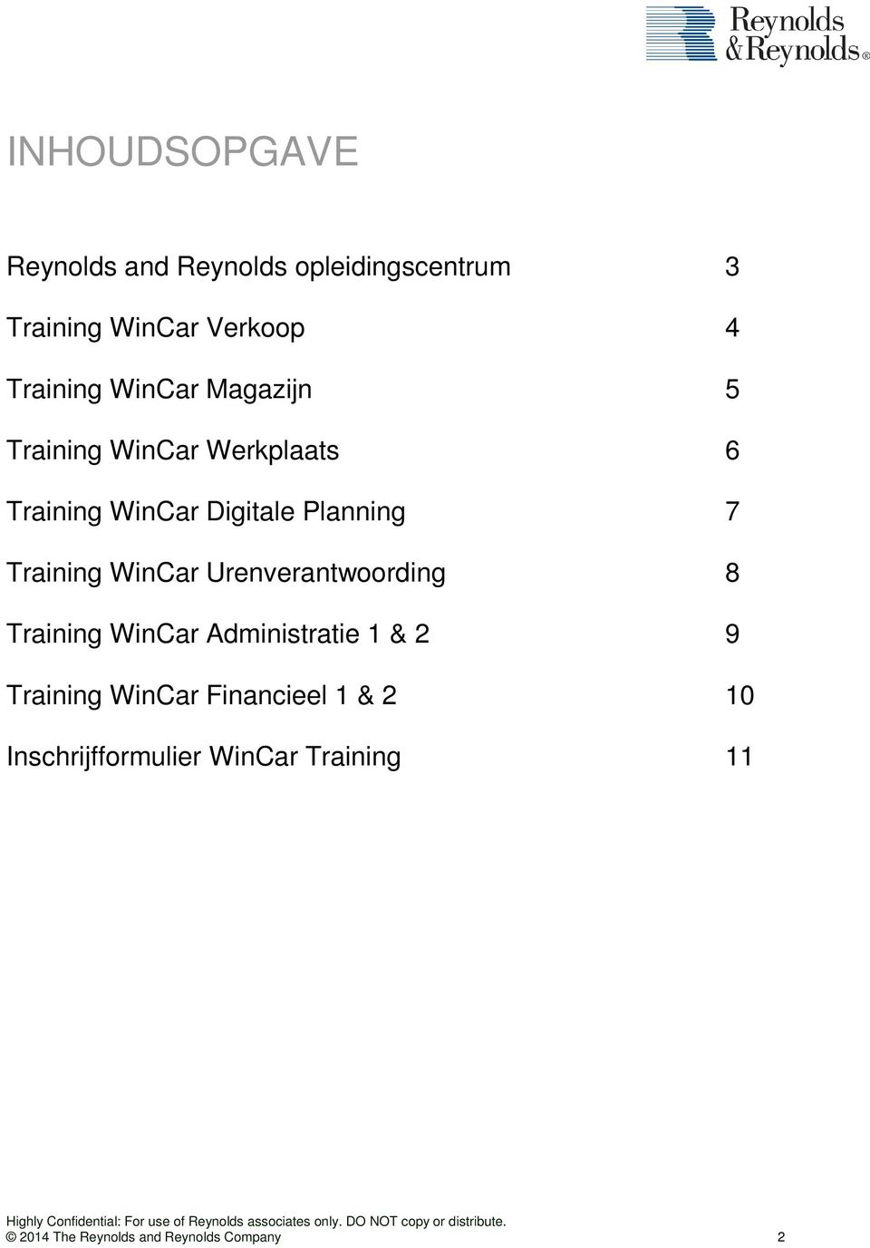 Training WinCar Urenverantwoording 8 Training WinCar Administratie 1 & 2 9 Training WinCar