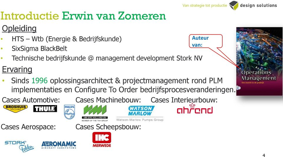 oplossingsarchitect & projectmanagement rond PLM implementaties en Configure To Order