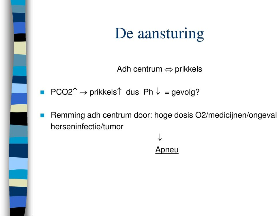 Remming adh centrum door: hoge dosis