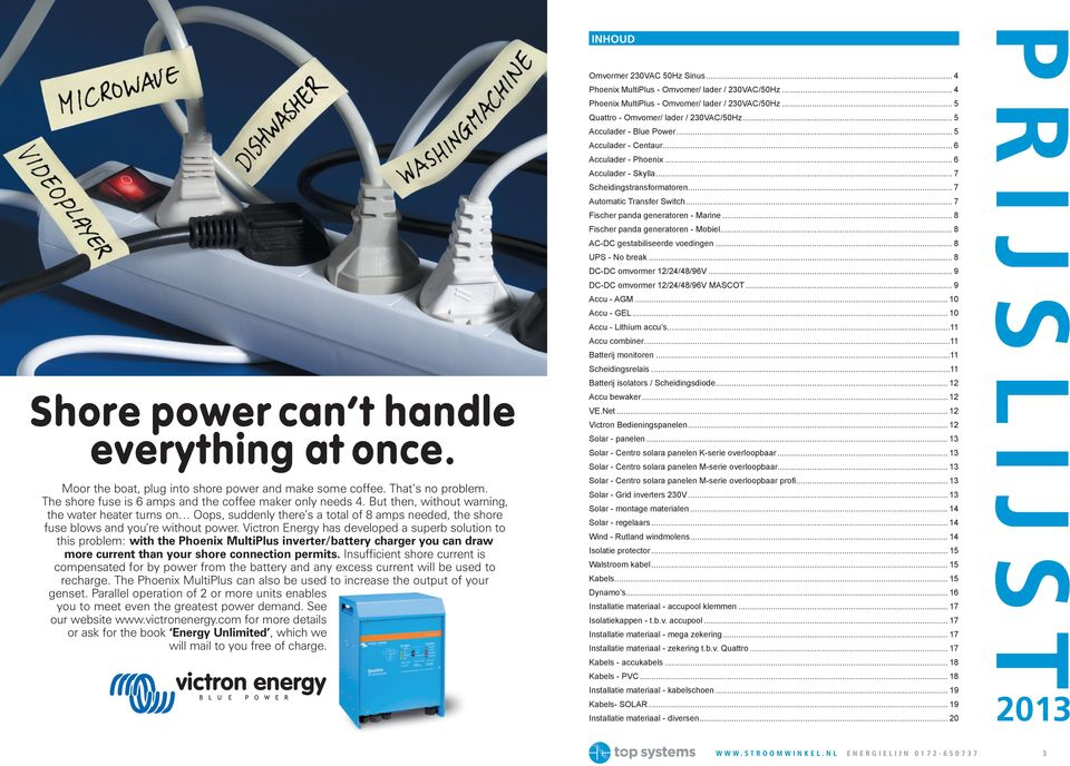 Victron Energy has developed a superb solution to this problem: with the Phoenix MultiPlus inverter/battery charger you can draw more current than your shore connection permits.
