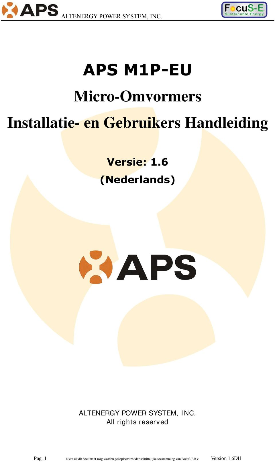 6 (Nederlands) ALTENERGY POWER SYSTEM, INC.