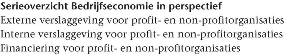 Interne  Financiering voor profit- en