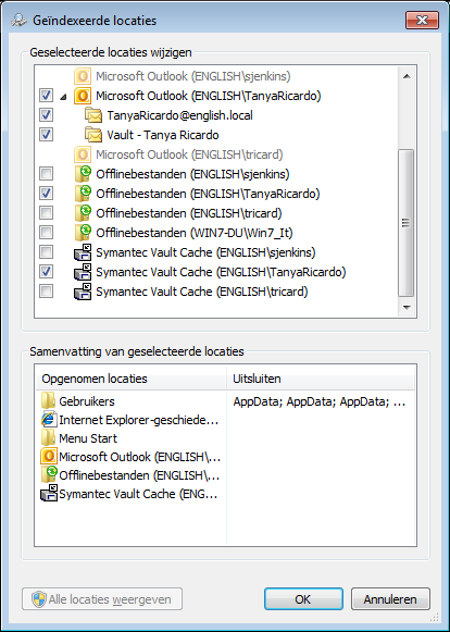 Enterprise Vault installeren Windows Search configureren 19 Virtual Vault Vault Cache 3 Zorg ervoor dat in de lijst Geselecteerde locaties wijzigen de ingang voor uw Virtual Vault is geselecteerd.