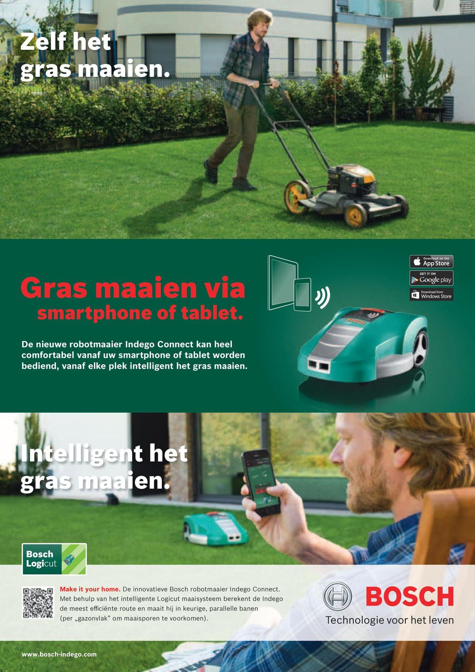 intelligent het gras maaien. Intelligent het gras maaien. Make it your home. De innovatieve Bosch robotmaaier Indego Connect.
