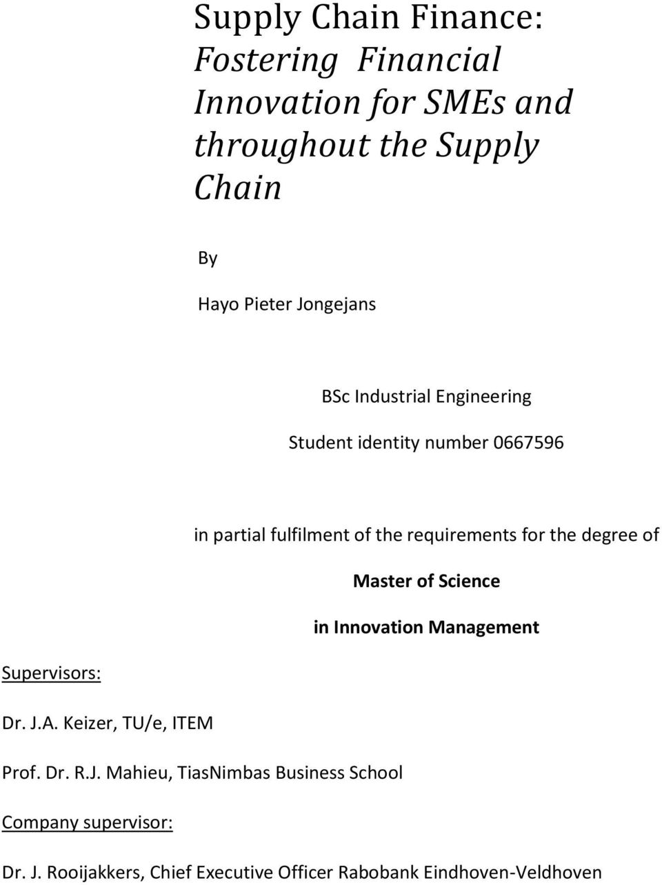 Supply Chain Management Dissertation Topics