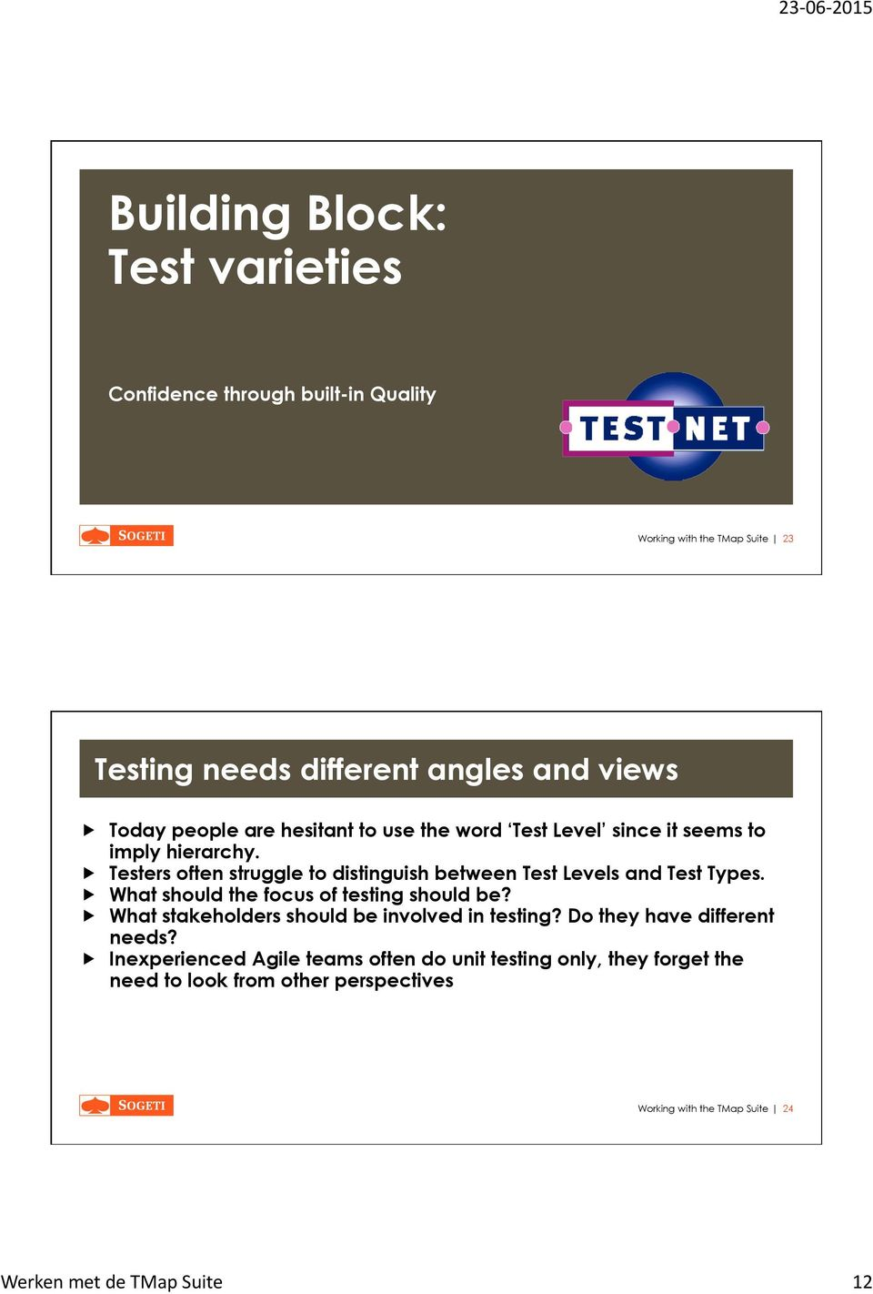 Testers often struggle to distinguish between Test Levels and Test Types. What should the focus of testing should be?