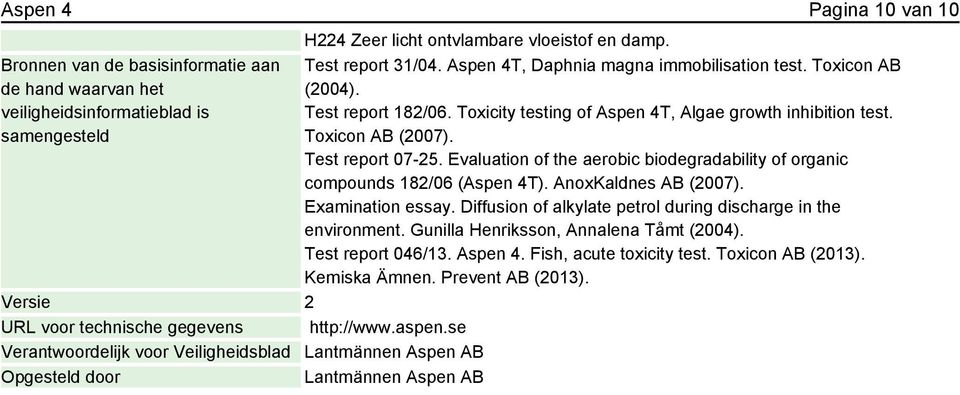 Aspen 4T, Daphnia magna immobilisation test. Toxicon AB (2004). Test report 182/06. Toxicity testing of Aspen 4T, Algae growth inhibition test. Toxicon AB (2007). Test report 07-25.