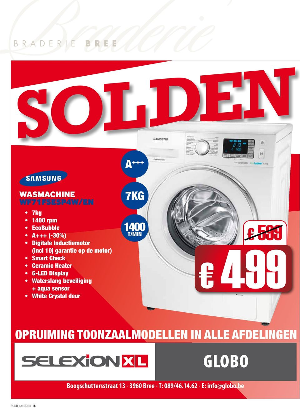 Display Waterslang beveiliging + aqua sensor White Crystal deur 7KG 1400 T/MIN 599 499 OPRUIMING