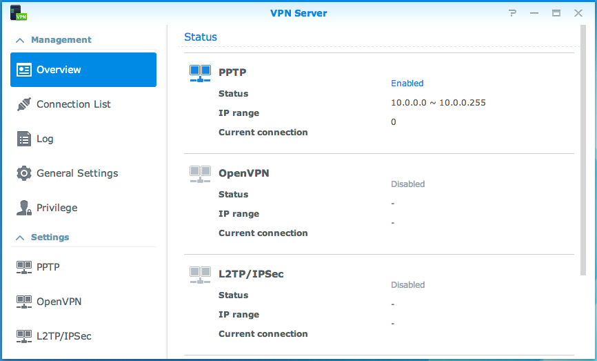 Gebruikershandleiding Synology NAS Gebaseerd op DSM 5,1 Een VPN-verbinding instellen VPN Server is een add-onpakket waarmee uw Synology NAS een PPTP-, OpenVPN- of L2TP/IPSec VPN Server (virtual