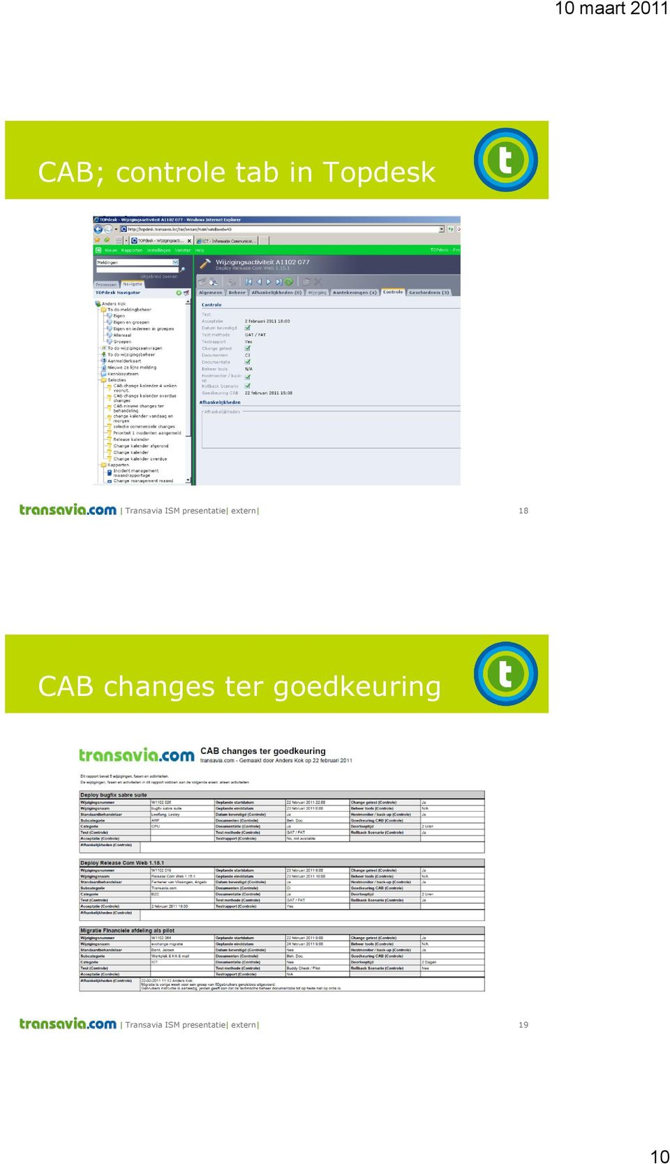 18 CAB changes ter goedkeuring
