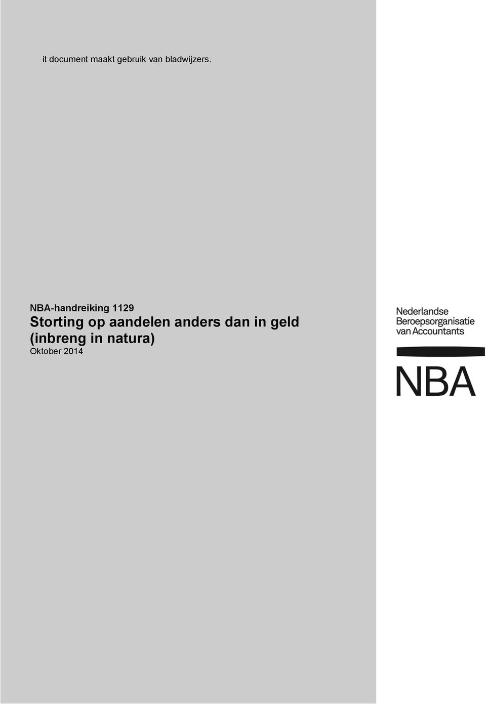 NBA-handreiking 1129 Storting op