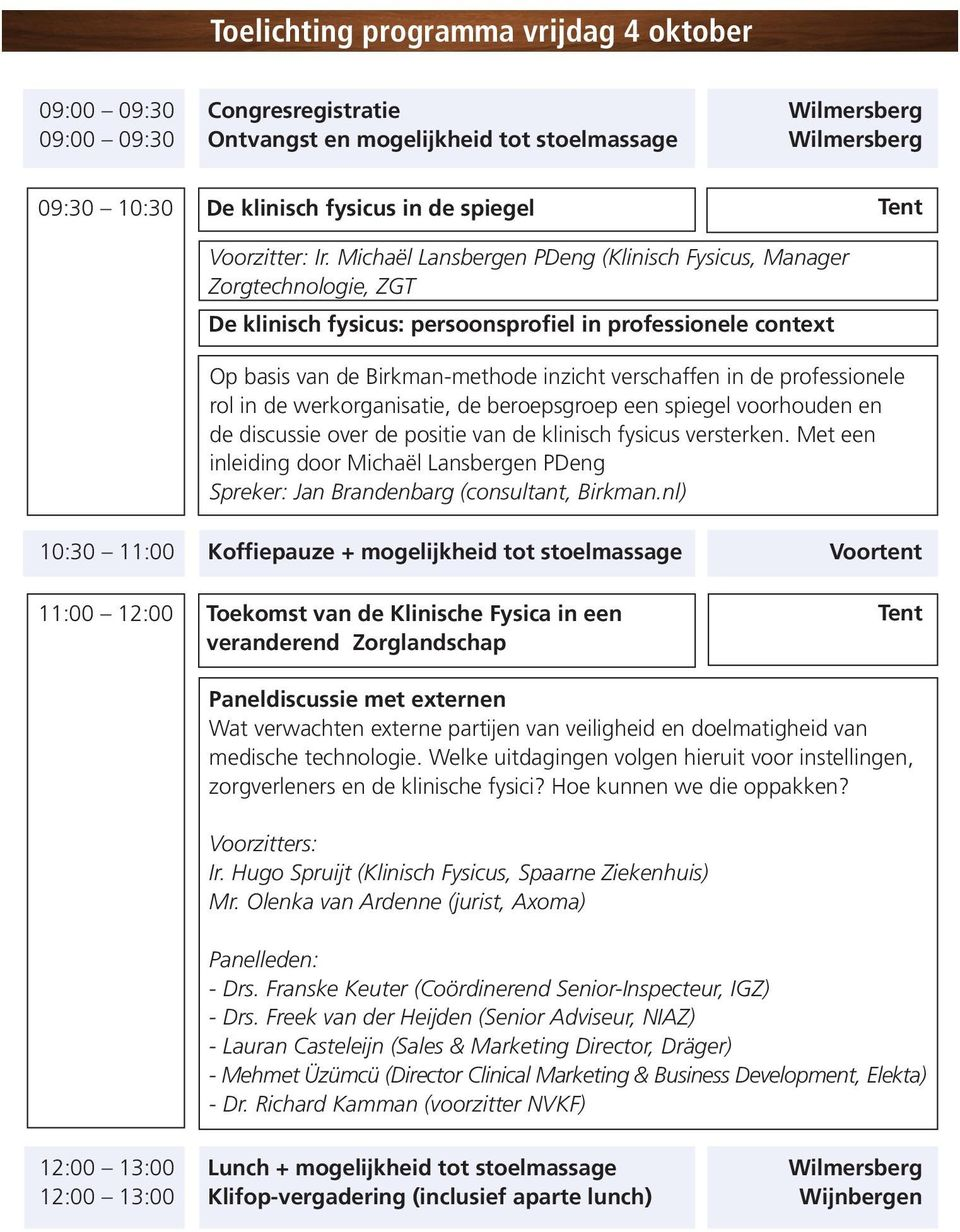 Michaël Lansbergen PDeng (Klinisch Fysicus, Manager Zorgtechnologie, ZGT De klinisch fysicus: persoonsprofiel in professionele context Op basis van de Birkman-methode inzicht verschaffen in de