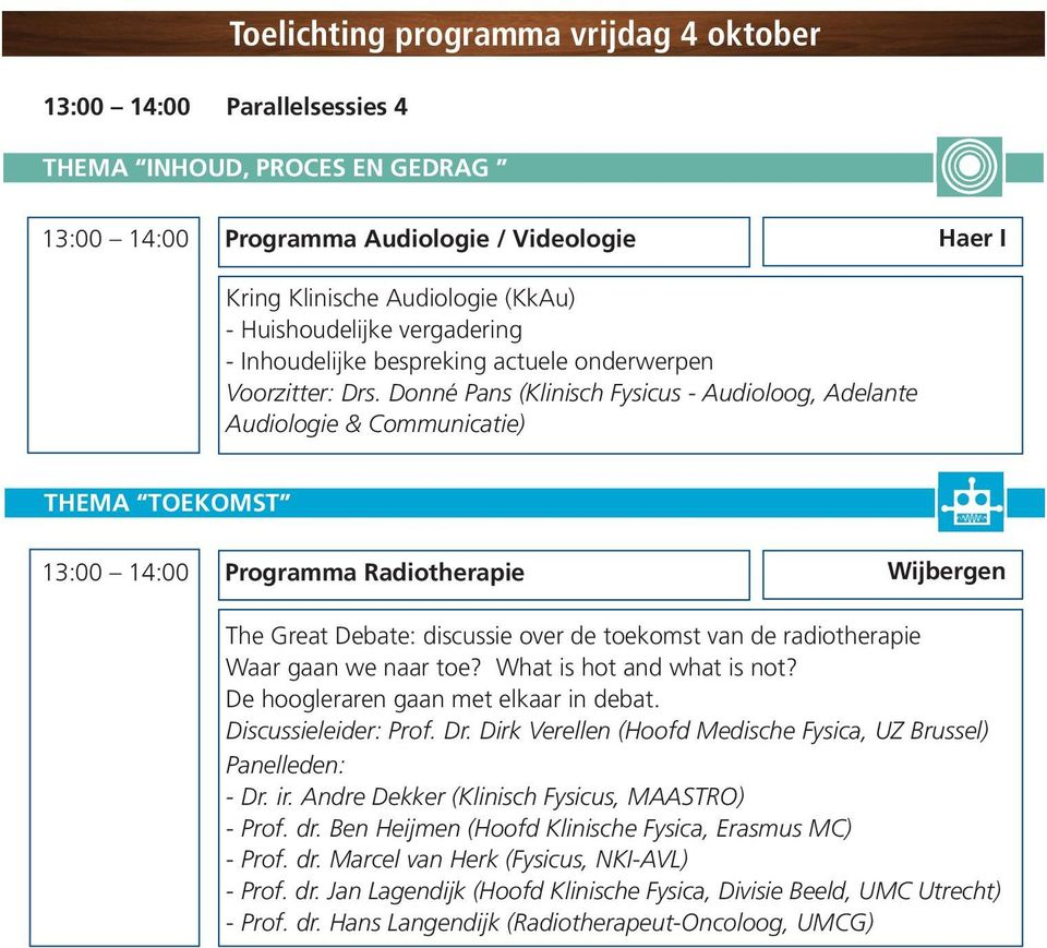 Donné Pans (Klinisch Fysicus - Audioloog, Adelante Audiologie & Communicatie) THEMA TOEKOMST 13:00 14:00 Programma Radiotherapie Wijbergen The Great Debate: discussie over de toekomst van de