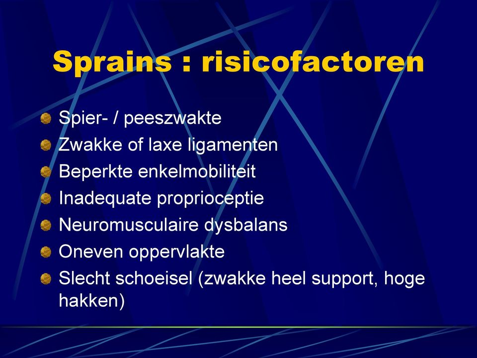 proprioceptie Neuromusculaire dysbalans Oneven