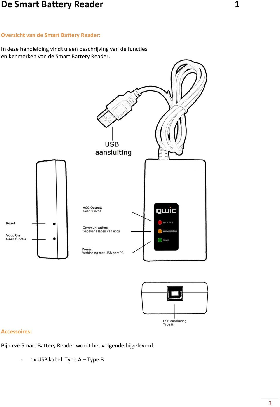kenmerken van de Smart Battery Reader.