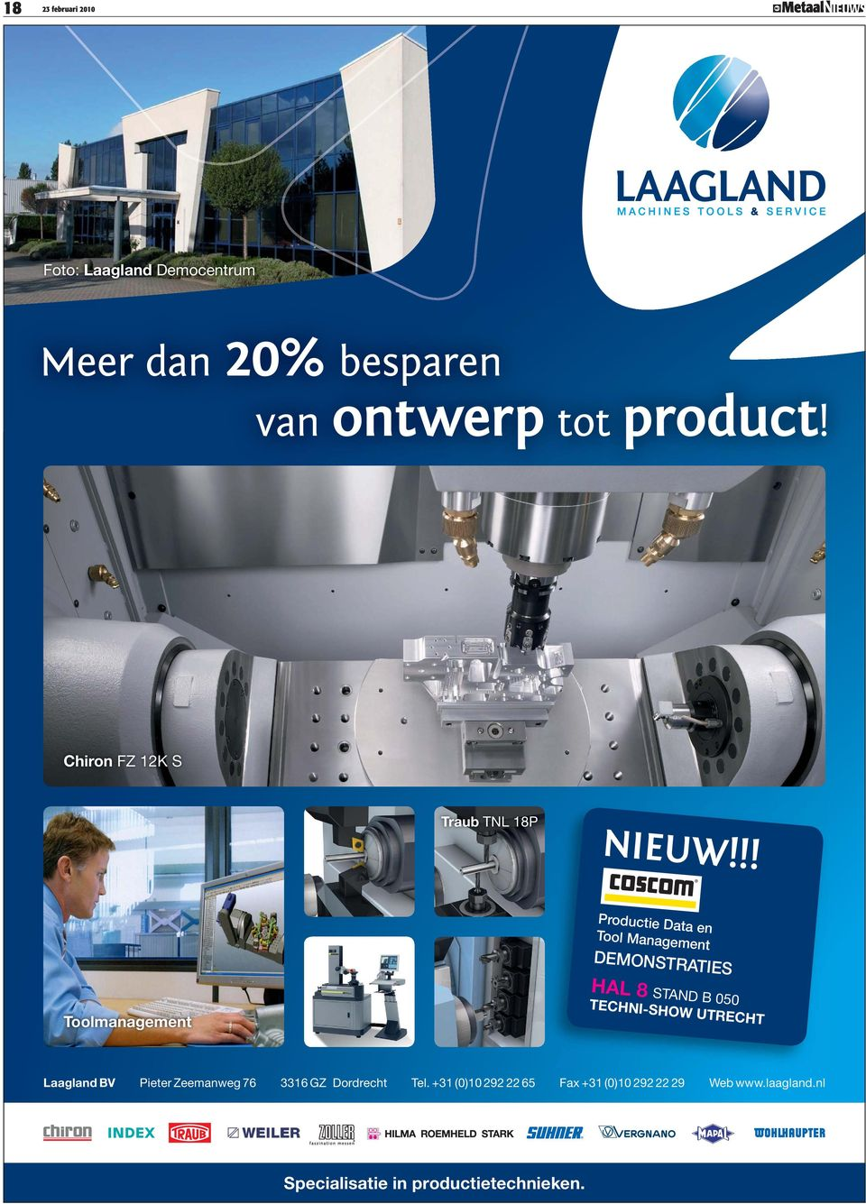 !! Productie Data en Tool Management DEMONSTRATIES HAL 8 STAND B 050 Toolmanagement TECHNI-SHOW