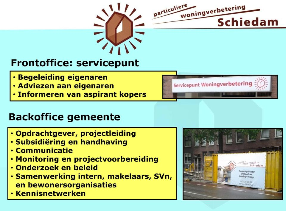 Subsidiëring en handhaving Communicatie Monitoring en projectvoorbereiding