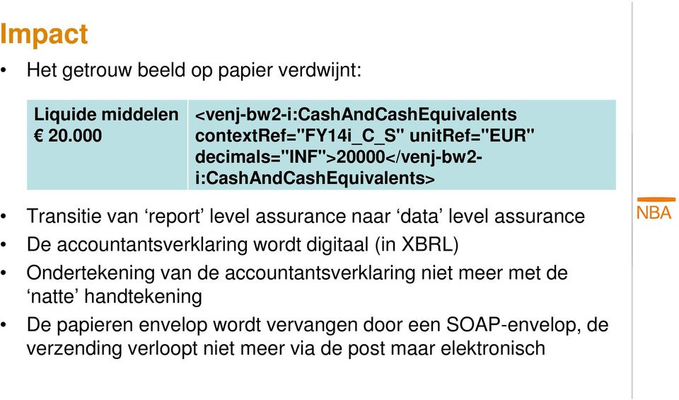 i:cashandcashequivalents> Transitie van report level assurance naar data level assurance De accountantsverklaring wordt digitaal