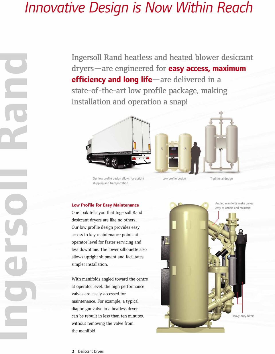 Low Profile for Easy Maintenance One look tells you that Ingersoll Rand desiccant dryers are like no others.