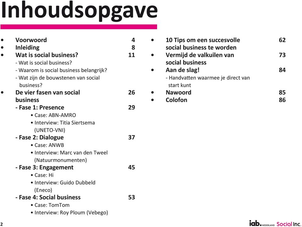 (Natuurmonumenten) - Fase 3: Engagement Case: Hi Interview: Guido Dubbeld (Eneco) - Fase 4: Social business Case: TomTom Interview: Roy Ploum (Vebego) 4 8 11 26 29 37 45 53