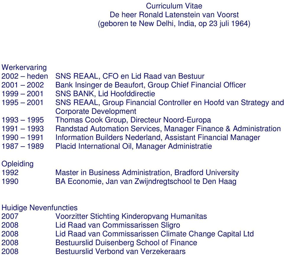 1993 Randstad Automation Services, Manager Finance & Administration 1990 1991 Information Builders Nederland, Assistant Financial Manager 1987 1989 Placid International Oil, Manager Administratie