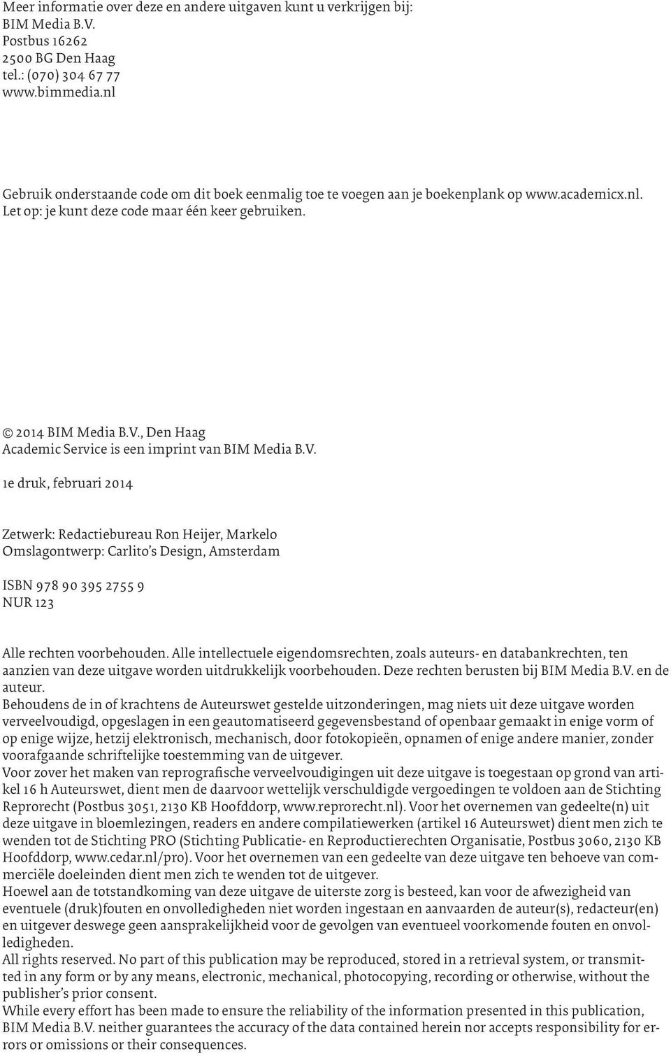, Den Haag Academic Service is een imprint van BIM Media B.V.