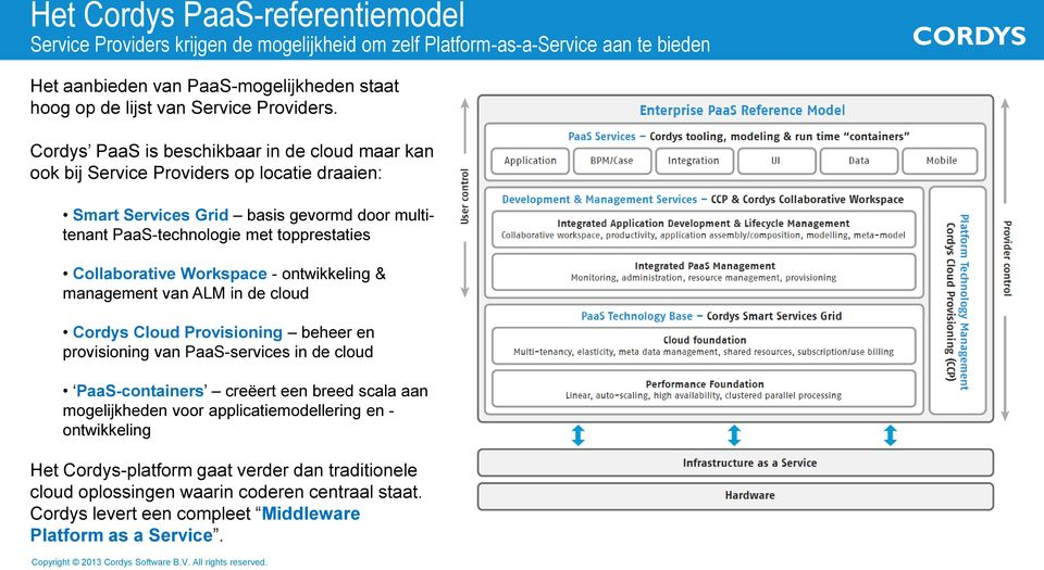 Cordys PaaS is beschikbaar in de cloud maar kan ook bij Service Providers op locatie draaien: Smart Services Grid basis gevormd door multitenant PaaS-technologie met topprestaties Collaborative