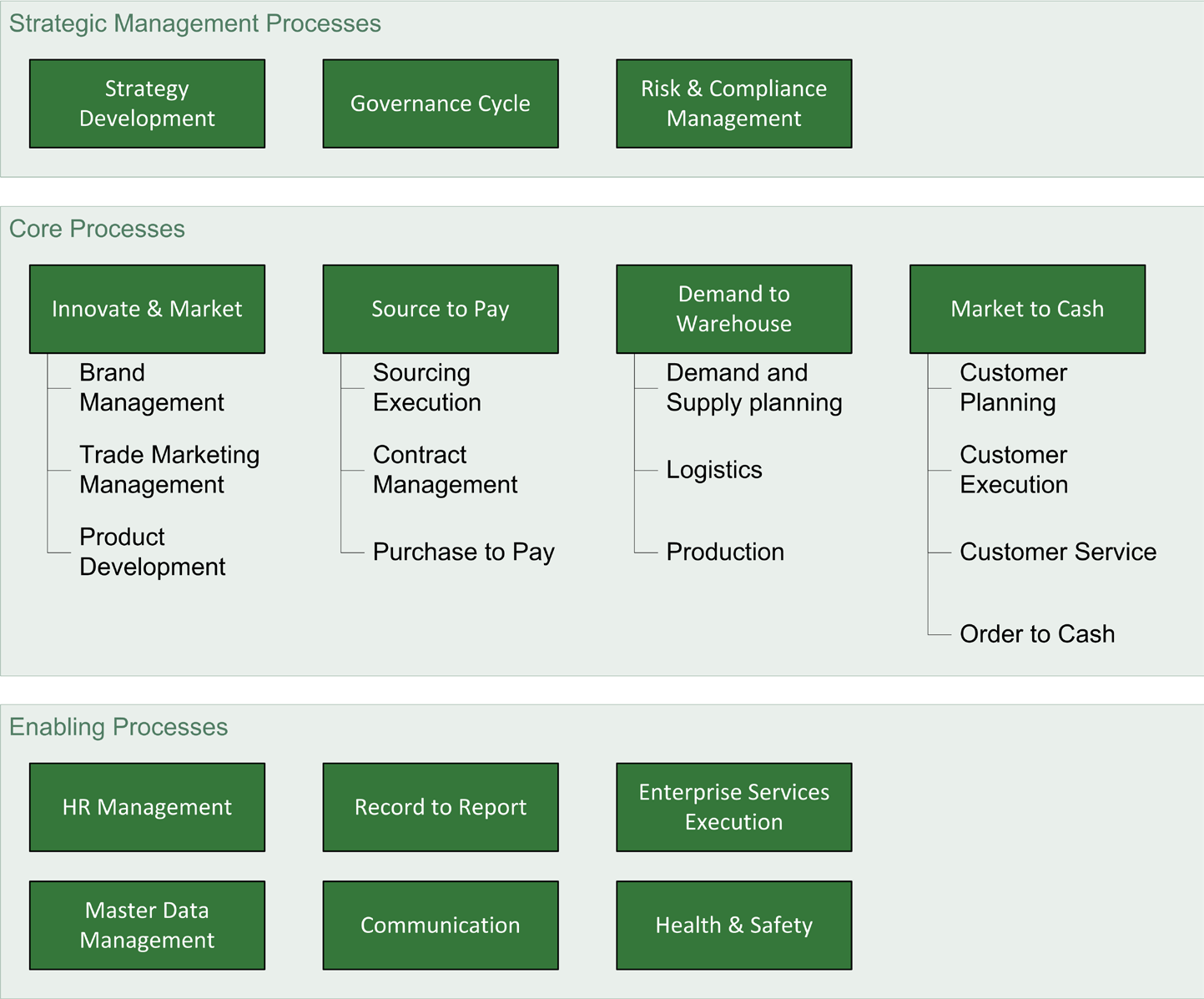 Chapter 3: Perspectives on Heineken Processes that support the core processes As already mentioned, the business process framework has just been developed, resulting in a very high level and abstract