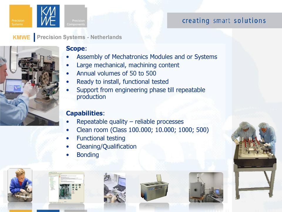 Support from engineering phase till repeatable production Capabilities: Repeatable quality reliable