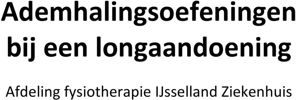 Afdeling fysiotherapie