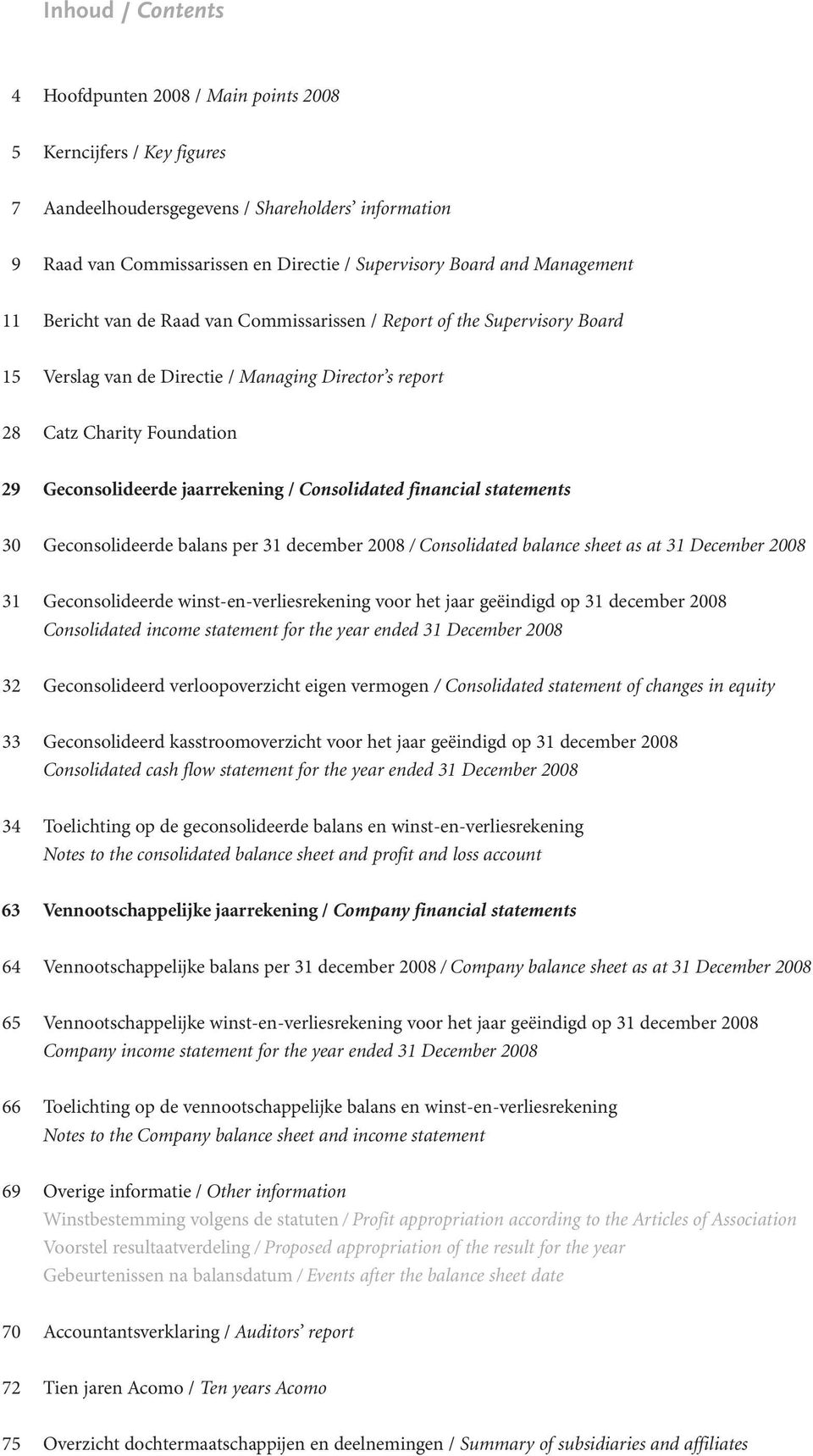 Charity Foundation Geconsolideerde jaarrekening / Consolidated financial statements Geconsolideerde balans per 31 december / Consolidated balance sheet as at 31 December Geconsolideerde