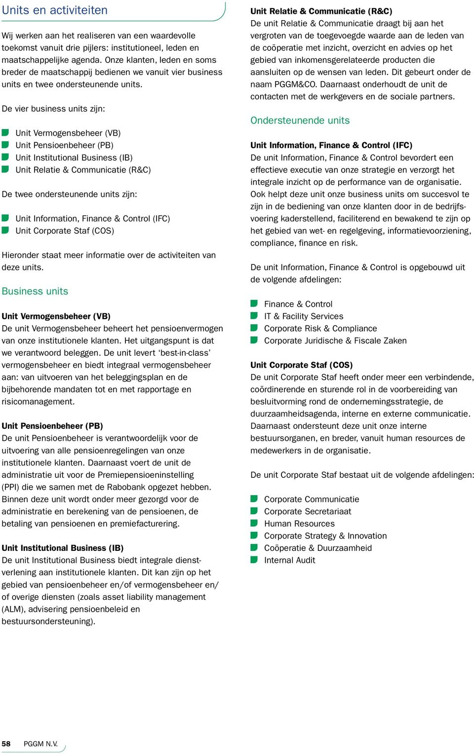 De vier business units zijn: Unit Vermogensbeheer (VB) Unit Pensioenbeheer (PB) Unit Institutional Business (IB) Unit Relatie & Communicatie (R&C) De twee ondersteunende units zijn: Unit Information,