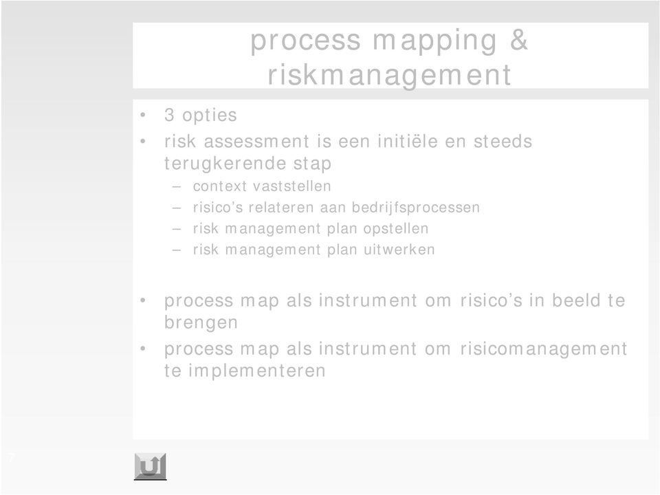 management plan opstellen risk management plan uitwerken process map als instrument om