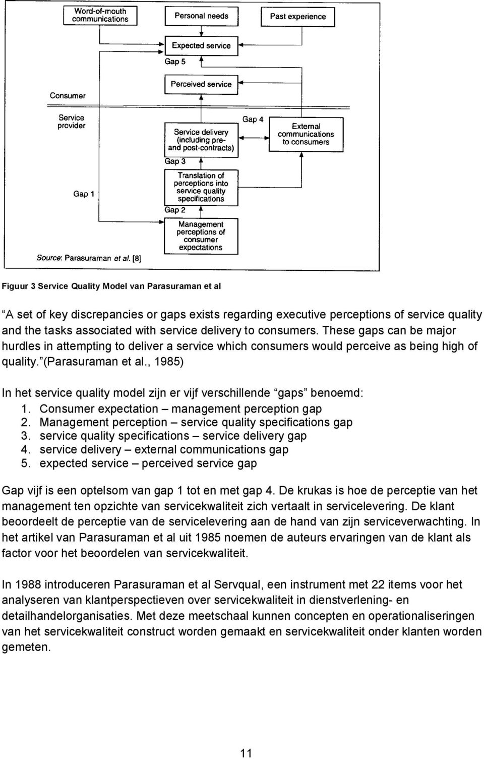 , 1985) In het service quality model zijn er vijf verschillende gaps benoemd: 1. Consumer expectation management perception gap 2. Management perception service quality specifications gap 3.