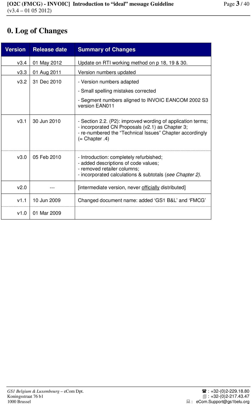 2 31 Dec 2010 - Version numbers adapted - Small spelling mistakes corrected - Segment numbers aligned to INVOIC EANCOM 2002 S3 version EAN011 v3.1 30 Jun 2010 - Section 2.2. (P2): improved wording of application terms; - incorporated CN Proposals (v2.