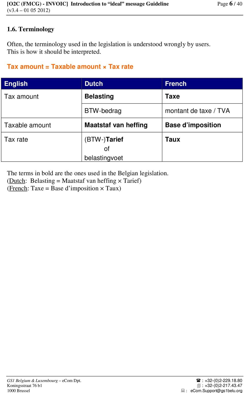 Tax amount = Taxable amount Tax rate English Dutch French Tax amount Belasting Taxe BTW-bedrag montant de taxe / TVA Taxable amount Maatstaf van heffing Base d imposition Tax
