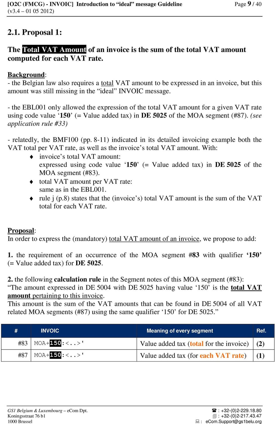 - the EBL001 only allowed the expression of the total VAT amount for a given VAT rate using code value 150 (= Value added tax) in DE 5025 of the MOA segment (#87).