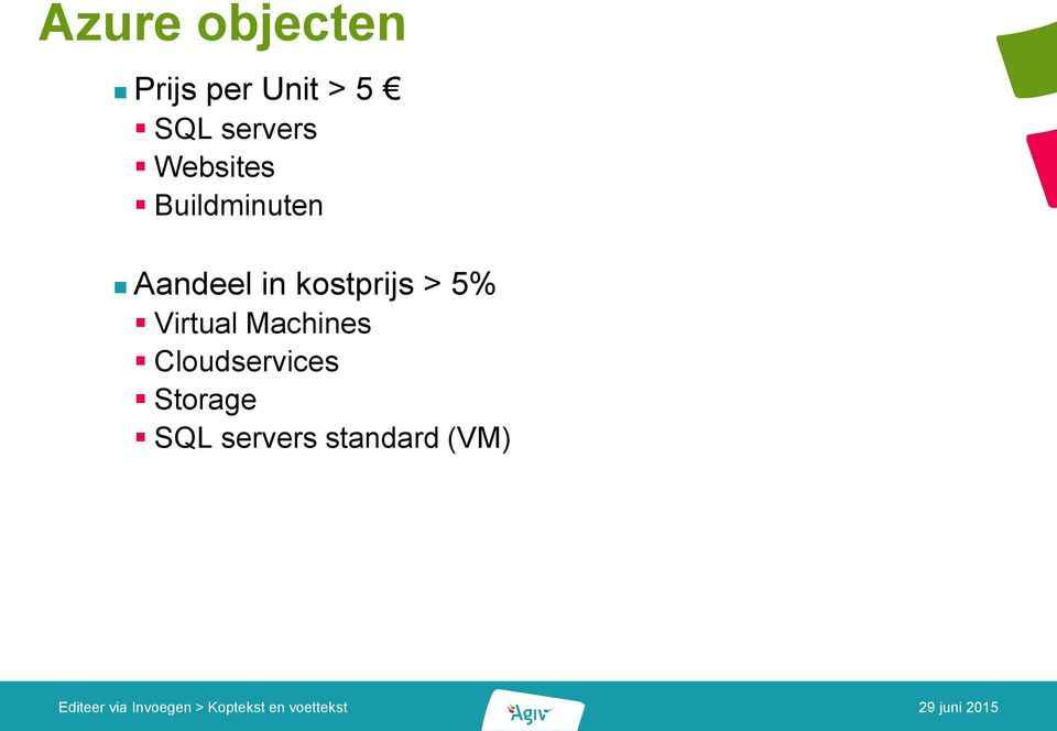 in kostprijs > 5% Virtual Machines