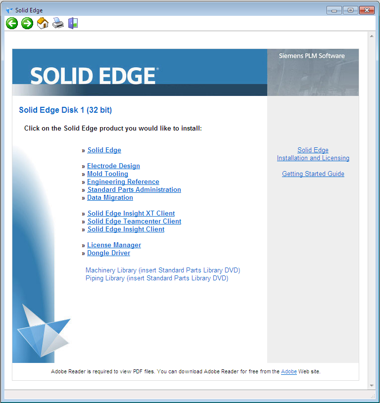 Solid Edge ST5 License manager Installatie en configuratie van de License Manager op de server Deze software is bijgeleverd op uw Solid Edge product DVD.