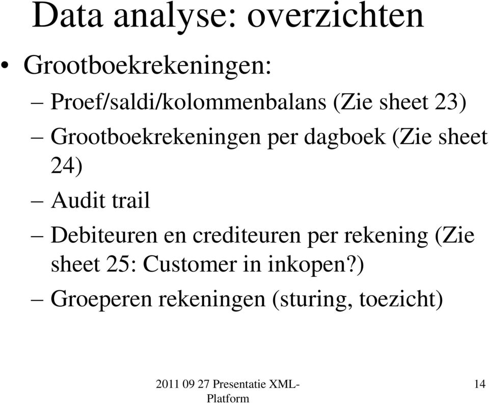 dagboek (Zie sheet 24) Audit trail Debiteuren en crediteuren per