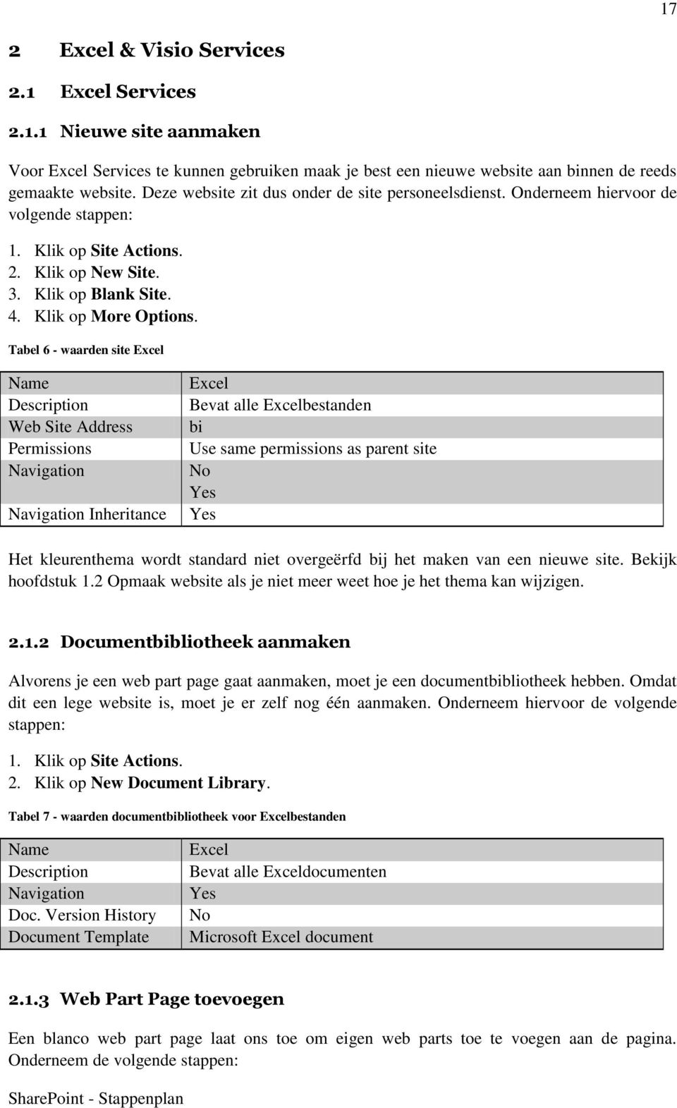 Tabel 6 - waarden site Excel Name Description Web Site Address Permissions Navigation Navigation Inheritance Excel Bevat alle Excelbestanden bi Use same permissions as parent site No Yes Yes Het