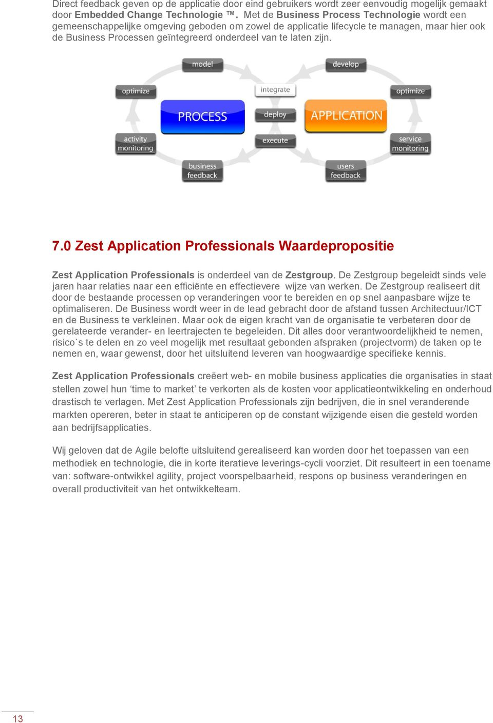 zijn. 7.0 Zest Application Professionals Waardepropositie Zest Application Professionals is onderdeel van de Zestgroup.