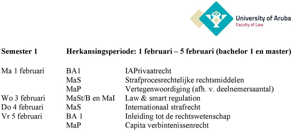 deelnemersaantal) Wo 3 februari t/b en MaI Law & smart regulation Do 4 februari